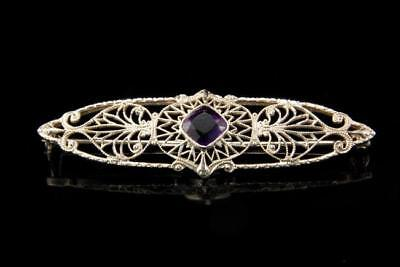 Antique Edwardian Amethyst 10K White Gold Filigree Pin Brooch A48052