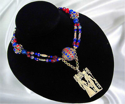 "Vintage Dark Blue & Red Czech Glass Egyptian Revival 25"" Necklace Sterling Clasp"