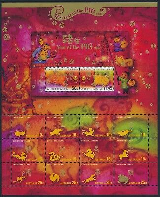 2007 Christmas Island Year Of The Pig Sheetlet Fine Mint Mnh