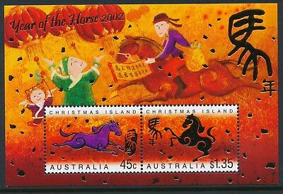 2002 Christmas Island Year Of The Horse Minisheet Fine Mint Mnh