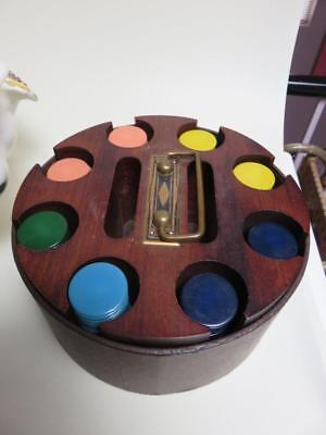 vintage mahogany covered  Poker Chip caddy plastic  bakelite  chips card holders