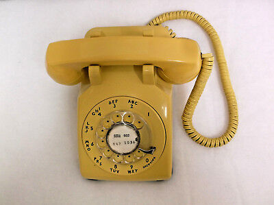 Western Electric Yellow Rotary Dial Telephone Bell System