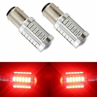2X Red BAY15D 1157 Car Tail Stop Brake Light 5630 33 SMD LED Bulb 12V DC Strobe
