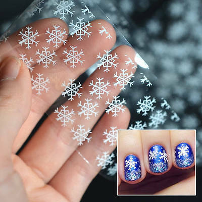 CHRISTMAS SILVER SNOWFLAKES Nail Art Foil Transfer Glitter Stickers 3D Nails DIY