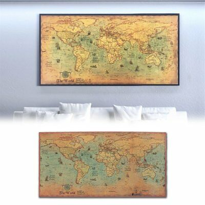 world map nautical ocean map vintage kraft paper poster wall chart sticker AU