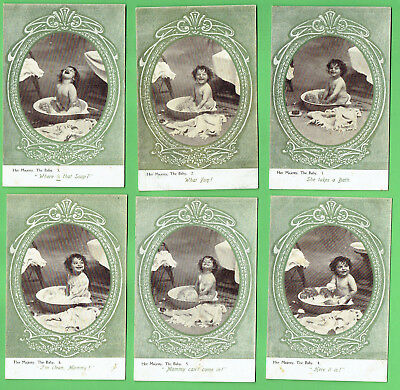 #B. Set(6) Her Majesty, The Bath Postcards - Young   Baby Takes A Bath