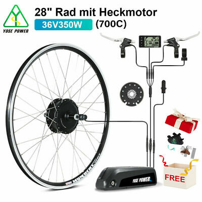 "E-Bike Conversion Kit 36V 350W 28"" Heckmotor Schraubkranz+36V 13Ah Li-ion Akku"
