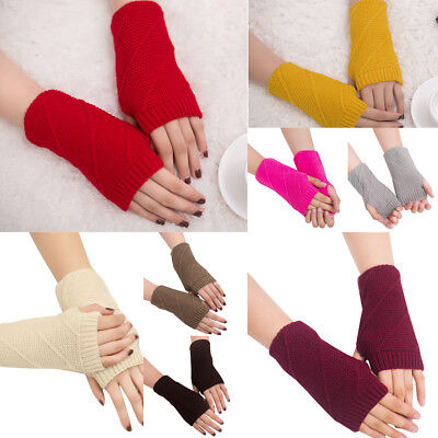 Fashion Women Solid Knitted Arm Fingerless Warm Winter Gloves Soft Warm Mitten