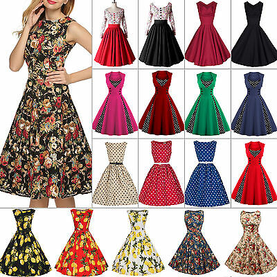 Womens 50s 60s Vintage Rockabilly Swing Skater Dress Party Housewife Pinup Dress