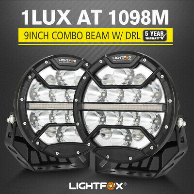 LightFox 9inch LED Driving Lights Spotlight Spot Beam with Indicator & DRL