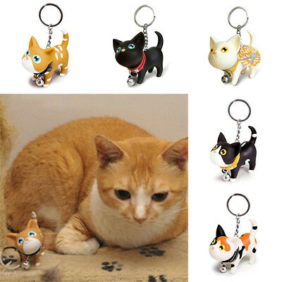 Lovely Cat Kitten Keychain Keyring Bell Lover Key Chain Ring Handbag Decor Y
