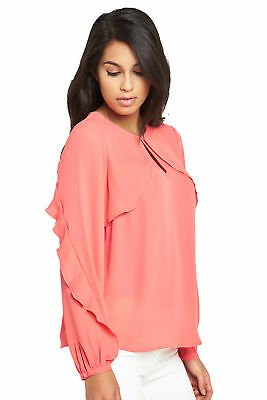 V by Very Frill Long Sleeve Blouse In Coral Size 8