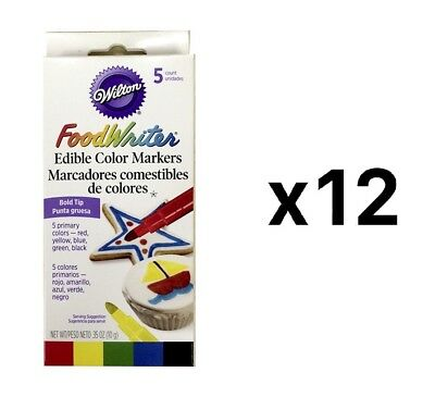 Wilton Food Writer 5qty Bold Tip Edible Color Markers Cake Decorating (12-Pack)