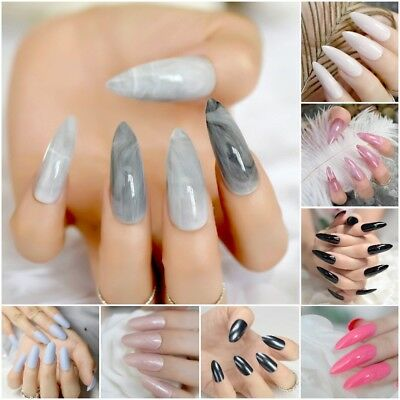 Extra Long Stiletto Grey Marble Fake Nails Stone Pattern Pointed Dark Press On