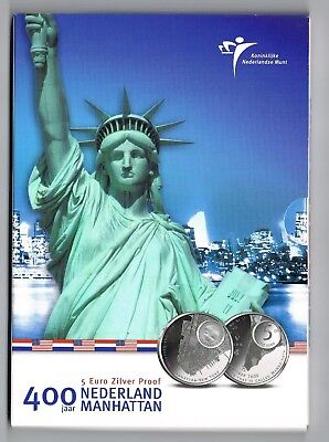 €5 Munt Zilver Proof 2009 Nederland-Manhatten  Blister