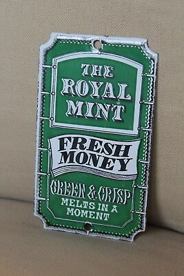 "Genuine Antique Royal Mint Enamel Sign Dodo Designs ""fresh Money"""