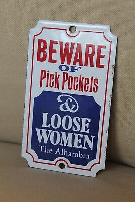"Genuine Antique ""pick Pockets"" Enamel Sign Dodo Designs ""the Alhambra"""