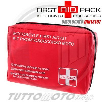 First Aid Pack Kit Pronto Soccorso Omologato Din13167-2014 Moto Scooter