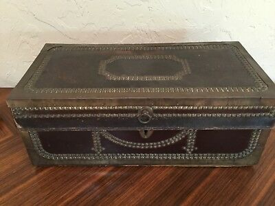 "Antique wood leather metal trunk case strong box 19.5x 9.75x7.75"" DECORATIVE"