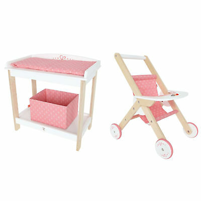 Hape Baby Diaper Changing Table Pretend Furniture & Wooden Babydoll Stroller