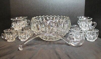 Lead Crystal Gorham Punch Bowl 12 Cups Glass ladle