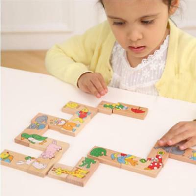Colored Dominoes Montessori Learning Educational Toy Wooden Puzzle Animals Z