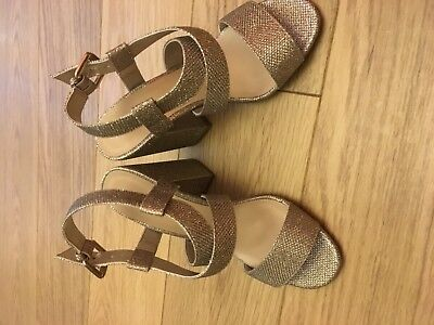 New Look Girls Ladies Gold Glittery Party Shoes Uk 4 Brand New With Labels