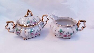 Small Sugar Bowl and Creamer Set Floral Design Made in Japan