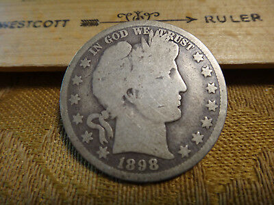 1898-O United States Barber Silver Half Dollar 50c - Free S&H USA