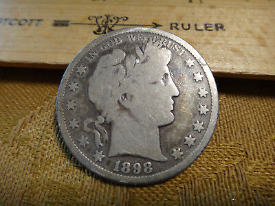 1898-S United States Barber Silver Half Dollar 50c - Free S&H USA