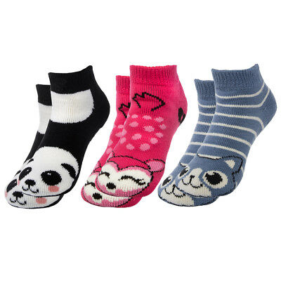 3 Pairs Polar Extreme Thermal No Show Animal Socks With Nonslip Grips Kids Adult