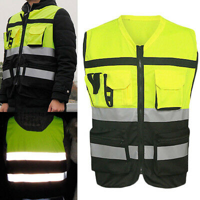 Safety Hi-Vis Vest Reflective Driving Jacket Worker Night Security Waistcoat Kit