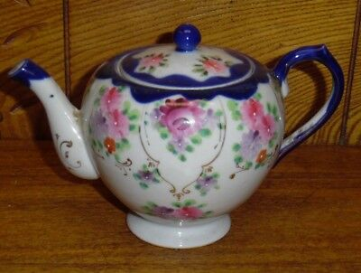 Small Porcelain Teapot - Cobalt Blue & Hand Painted Flowers - Made In Japan