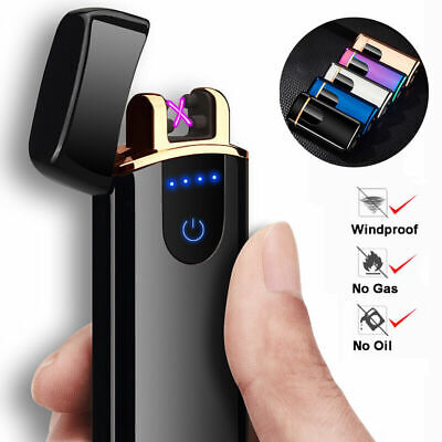 New Electric Double Aach Pulse Plasma Lighter Flameless Metal Cigarette USB