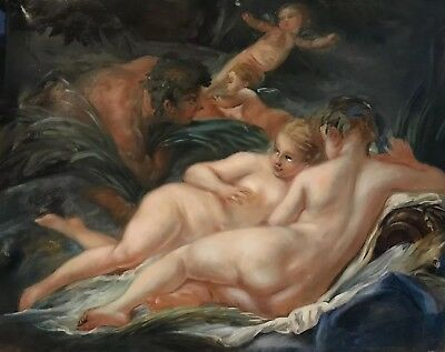 Atelier Dagher Large Oil Painting - Naked Nymphs & Satyr - Louvre Copyist