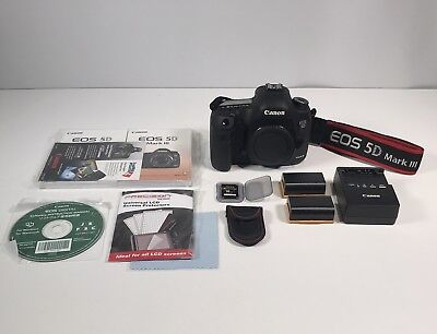 Canon EOS 5D Mark III 22.3MP Digital SLR Camera Black Body Only W/Extras