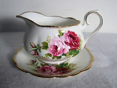 Royal Albert American Beauty Gravy Boat With Underplate #1 Chip