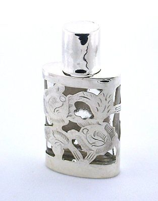 VINTAGE STERLING SILVER AND GLASS PERFUME BOTTLE 1960's EBS5548