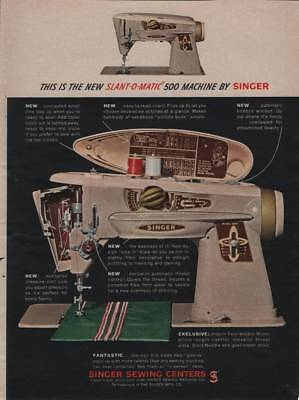 1961 Singer Slant-O-Matic 500 Sewing Machine Vintage Magazine Ad Page