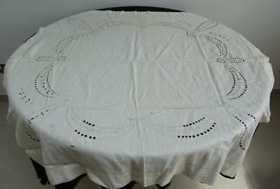 "Vintage 1930's Cream Embroidered Cutwork Tablecloth - Unfinished 40½"" x 40½"""