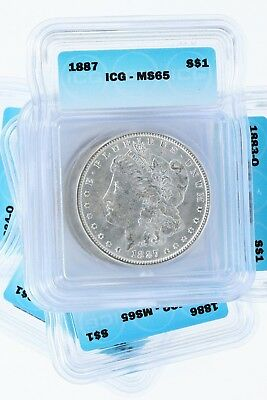 Pre 1921 Silver Morgan Dollar ICG MS65 S$1 Lot of 10 Mix Dates and Mint Marks