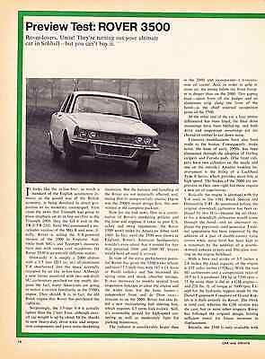1968 Rover 3500  ~  Nice Original 2-Page Preview Test Article / Ad