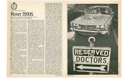1970 Rover 3500S  ~  Nice Original 3-Page Road Test / Article / Ad