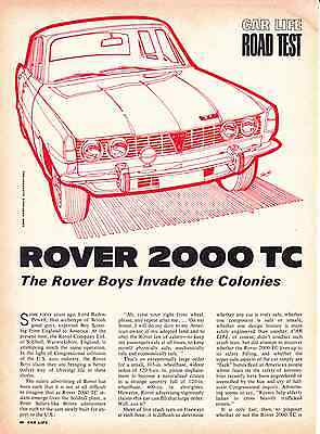 1966 Rover 2000 Tc ~ Original 5-Page Road Test / Article / Ad