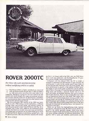 1970 Rover 2000Tc  ~  Nice Original 3-Page Road Test / Article / Ad