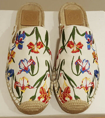 4396c237fde9  228 Tory Burch MAX Embroidered Espadrille Slide New Ivory Painted Iris 7.5  NIB