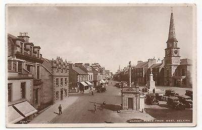 MARKET PLACE FROM WEST, SELKIRK - Real Photo Vintage Postcard