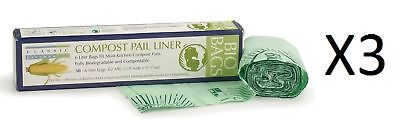 RSVP 100% Biodegradable Compostable Liners 50 Pack 6 Liters GMO Free (3-Pack)
