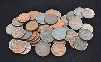 Lot of 50 US Large Cents Mixed 1802-1858 High End Culls