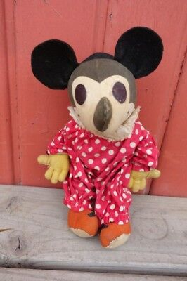 "EARLY 1930's MICKEY MOUSE Knickerbocker Co. Rare HTF Clown outfit 11"" ALL CLOTH!"